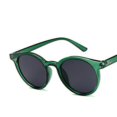 Sport-Sonnenbrillen, Vintage Sonnenbrillen, NEW Red Blue Round Sunglasses Women Fashion Pink Yellow Sun Glasses Vintage Retro Shades C5 dark green