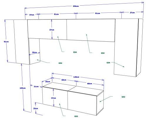 FUTURE 2 Zeitnah Wohnwand Wohnzimmer Möbelset, Anbauwand Schrankwand Möbel Set, Exklusive Unterhaltungseinheit Mit Regalen, Neue Suite, TV-Ständer / Schrank / Regal, Drücken Sie auf Öffnen / Standardgriff Wandschränke, Matte / Hochglanz, Schwarz / Weiß / Mehr Farben, Gratisversand (RGB LED Beleuchtung Vorhanden) (Schwarz MAT base / Schwarz MAT front, Möbel) - 2