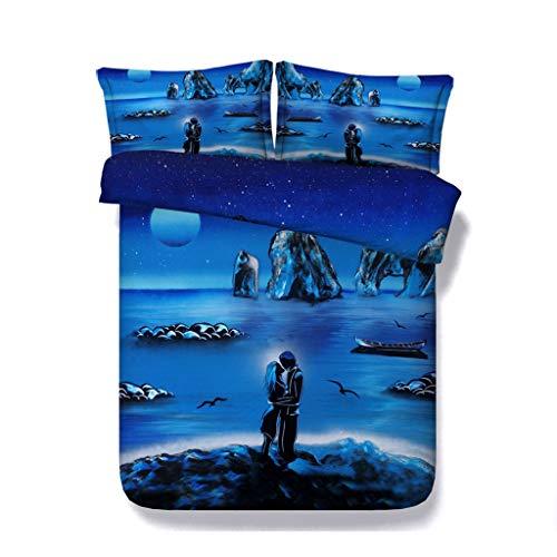 Galaxy Bettwäsche für Mädchen Ozean Bettbezug Set romantischen Strand Sonnenuntergang Mond Tröster Cover Bettwäsche Herz Hochzeit Tagesdecken Bettwäsche (Farbe : Blue Coverlet, größe : Full/Queen) -
