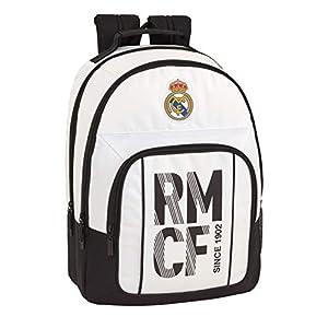 41dNcXYEssL. SS300  - Real Madrid CF Equipaje para niños Mochila Grande Doble Adaptable a Carro, Blanco, 42 cm