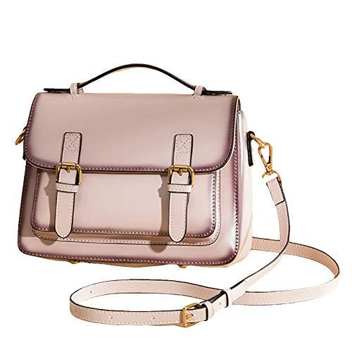 MERRYHE Damen Messenger Flap Sling Taschen Cambridge Satchel Aus Echtem Leder Tote Geldbörse Vintage Shoulder Handtaschen Perfekte Geschenke,Pink-24 * 9 * 18CM