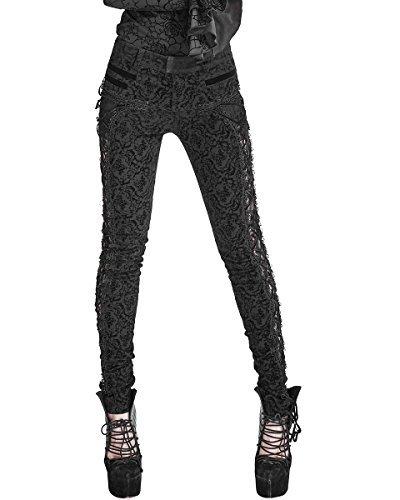 Punk Rave Pantaloni Da Donna Jeans Nero Damascato Gotico Steampunk VTG Pizzo Vittoriano - Nero, XXL - UK Womens Size 16