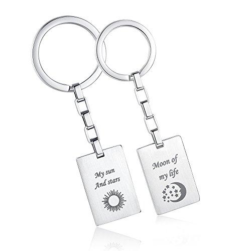 COAI Geschenkideen Schlüsselanhänger aus Edelsteine My Sun and Stars und Moon of My Life Gravur aus Game of Thrones für Partner
