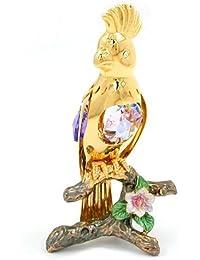 Articles en cristal Décoration Figurines Perroquet plaqué or cristaux lilas 95 x 40 mm