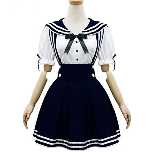 Sailor School Uniform (Pretty Lolita Maid Cosplay Kostüme Sailor School Uniform Schulmädchen Uniform Cosplay Halloween Party Kleider,Dark Blau,M)