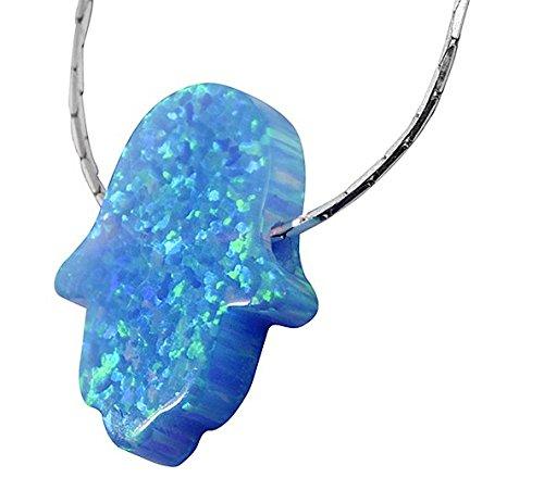 Collier Main de Fatma pierre Opale Bleue de synthèse, chaine maille serpent en Argent 925 de 48cm par Nanostyle