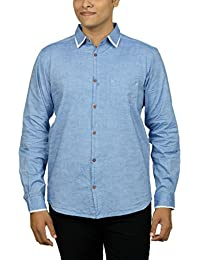 Kuons Avenue Men's Slim Fit Blue Azure Self Weave Cotton Silk Traditional Casual Party Shirt