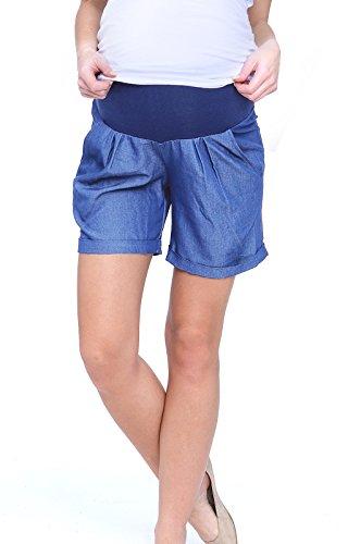 Comfort Capris (Mija - Kurze Umstandsshorts / Umstandshose mit Bauchband für Sommer 4074 (EU40 / L, Blau))