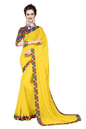 Arawins Yellow Georgette Great Indian Sale Sarees For Women Party Wear Designer Today Best Offers In Low Price Sale Ladies Sari With Banglori Silk Blouse Piece