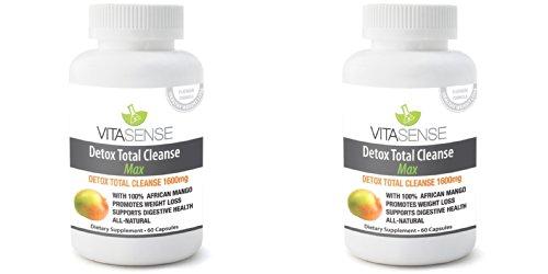 Doppel-Pack (Packung mit 2) VitaSense Detox Totale Reinigung 1600 mg MAX - 60 Kapseln -Gewichtsverlust & Körperreinigung