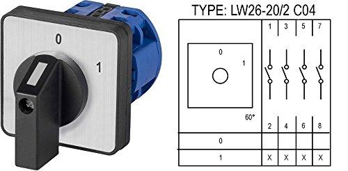 Drehschalter Nockenschalter Wendeschalter Auswahl: 7 Modelle / 0-1/1-0-2 / L-0-R / 0-Y-∆ (LW26-20/2 C04)