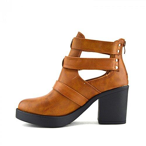 Kick Footwear - Donna Blocco Con Tacco Taglia Fuori Ankle Boot Ladies Chelsea Ankle Boots Brown, Marrone