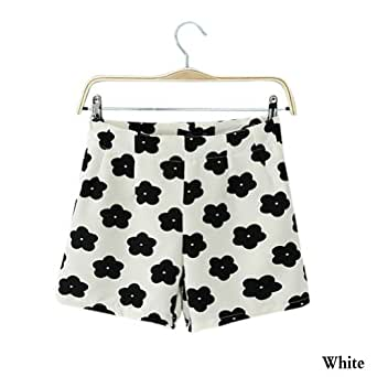 Neu Arrival Spring And Summer Damens Lassig High Waist Flowers Print Zipper Chiffon Shorts