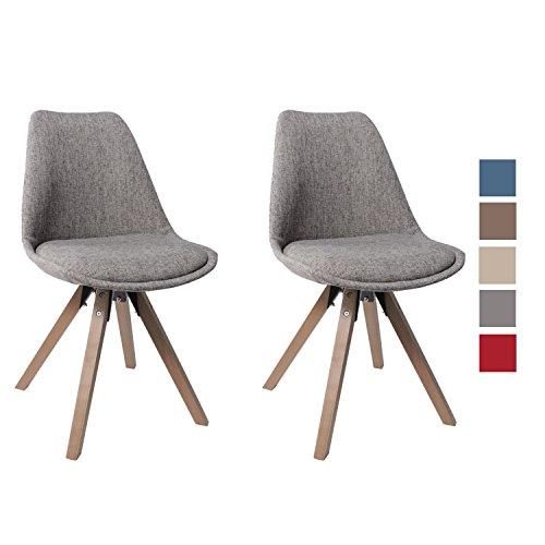 Duhome Elegant Lifestyle Stuhl Esszimmerstühle Grau Küchenstühle !2 er Set! Farbauswahl mit Holzbeinen Sitzkissen Esszimmerstuhl Retro Stoffbezug TYP9-518EM