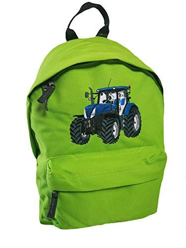 Junior Rucksack Traktor Stickerei Blauer Trecker Schulkinder Rucksäcke (grün)