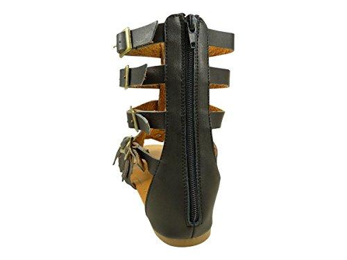 Sandales spartiates hautes pour femme aspect cuir et diamants cz Noir