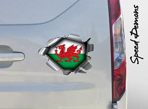 BITS4REASONS Extra Groß Speed Demons Pride Burst Rip Torn Reißfestigkeit Aufkleber Graphic, Selbstklebend, für Jede Oberfläche Auch Laptops und Autos–Walisische Flagge Fußball Rugby