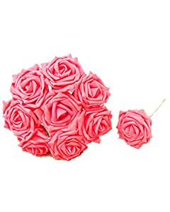 DAYAN 20pcs Simulazione PE schiuma sposa azienda mazzo di rose Decorazione in Cerimonia Nuziale Matrimonio Party Casa colore Rosso