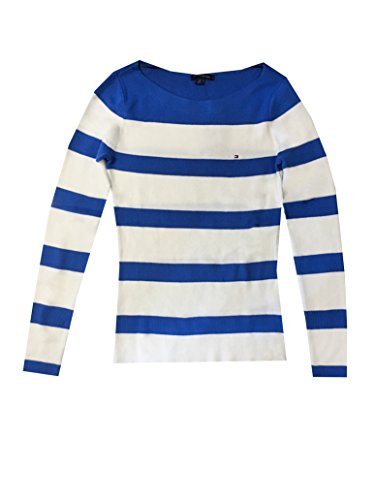 Tommy Hilfiger Pullover, Damen, Rundhals-Bateau-Ausschnitt, weiß-blau gestreift, Größen:S,M und L, 100% Baumwolle (s) (Bateau-ausschnitt Pullover)