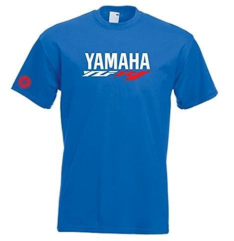 Juko Yamaha R1 Motorcycle Motorbike T Shirt Moto GP Top. Blue, Small