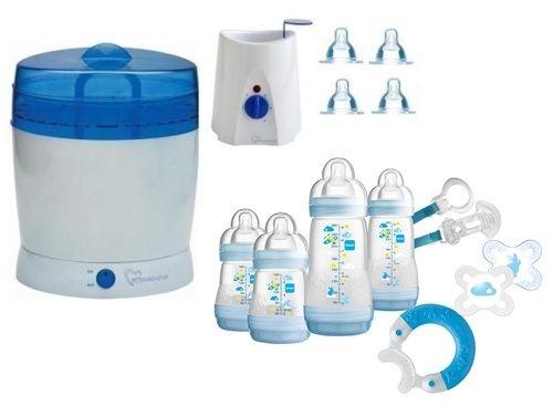 Preisvergleich Produktbild MAM Set 3 - Startset - Flaschen Sauger Sterilisator Flaschen- & Babykoster - Blau + gratis Geschenk