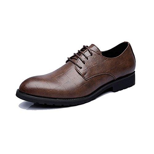 Hilotu uomo moda in pelle pu scarpe da lavoro oxfords struttura casuale di griglia di stile britannico scarpe da cerimonia (color : marrone scuro, dimensione : 39 eu)