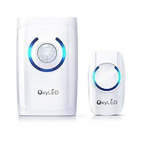 OxyLED® D01 4 in 1 Campanello Wireless, Luce Sensore Movimento, Torcia Emergenza, Allarme Sicurezza, Tasto a Premere, Bianco, Manuale Utente in Italiano