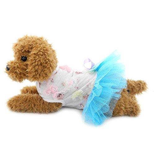 ranphy Kleiner Hund/Katze Prinzessin Tutu Kleid Party Röcke mit Schleife Hund Formale Plissee Kleid Haustier (Blue Little Halloween Kostüm Boy)