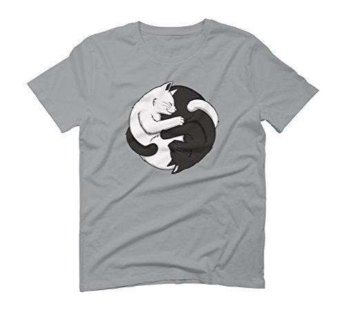 Yin Yang Cats Men's Large Opal Graphic T-Shirt - Design By Humans (883 Hug)