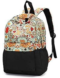 VHVCX Las Mujeres De Lujo Mochila Casual College Bookbag Impresión Floral Bolsas De Libros Mujer Con