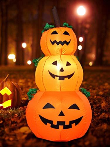 Aufblasbares Kostüm Fan - ningxiao586 3PCS Halloween aufblasbare Kürbisse mit LED-Leuchten und Fan Kostüm Halloween Prop oder Raumdekoration