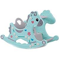 Rocking chair ☝YY Caballo Mecedora de Interior Multifuncional para niños, con Mecedora de Asiento de Juguete Musical (Color : Azul)