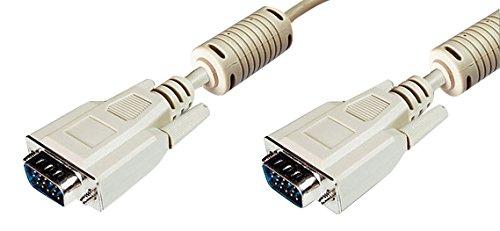 DIGITUS VGA Monitor Anschlusskabel, HD15 Stecker zu HD15 Stecker, 15 Meter, Beige