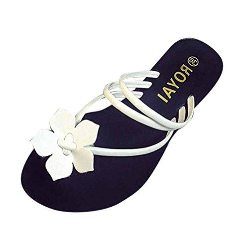 HCFKJ 2017 Mode Frauen Bohemia Flower Weave Sandalen Strand Peep-Toe Flip Flops Schuhe Hausschuhe Weiß