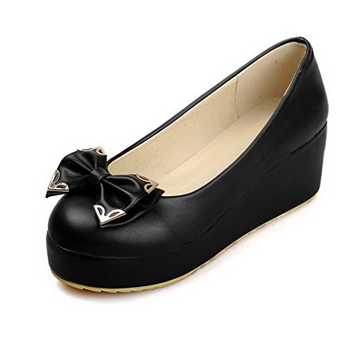AllhqFashion Femme Pu Cuir à Talon Correct Rond Couleur Unie Tire Chaussures Légeres Noir