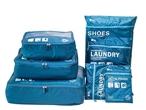 Packwürfel für Reise -7 Sets Koffer-Organizer Aufbewahrungstasche wasserdicht und leichtgewichtig - Koffer Kompressionsbeutel (Dark blau)