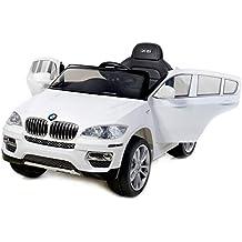 BMW X6 BIANCA Original licenza, 2x Motore, Batteria 12V, Telecomando,Chiave, Macchina bambino