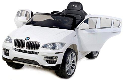 Preisvergleich Produktbild BMW X6 Weiß, Original Linzensiert Kinderfahrzeug, Kinder Elektroauto, Kinderauto mit genähte Ledersitz, Weiche EVA Räder, 2x Motor, 12-V-Batterie, mit 2,4 GHz Bluetooth Fernbedienung, Sanftanlauf