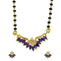 Anuradha Art Gold Finish Purple Colour American Diamond Manglasutra for Women