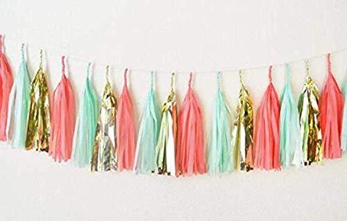 5 Stück 35,6 cm Mintkorallengold Luftschlangen, Party, Quasten, Seidenpapier Quasten, Girlande, Hochzeitswimpelkette, Babyparty, Geburtstag Party Dekoration ()
