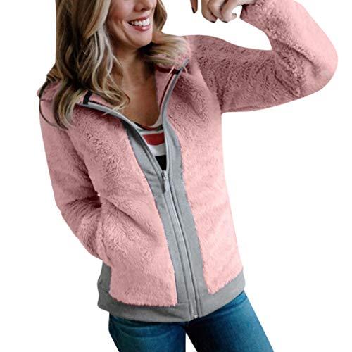 Yocolour Damen Freizeitjacke Mantel, Frauen Herbst Winter Einfarbig Warm Plüschjacke Hoodie Outwear Taschen Baggy Beiläufige Casual Lässiges Sweatshirt Cardigan Coat Tops(pink,XL) - 08 Womens Pink T-shirt