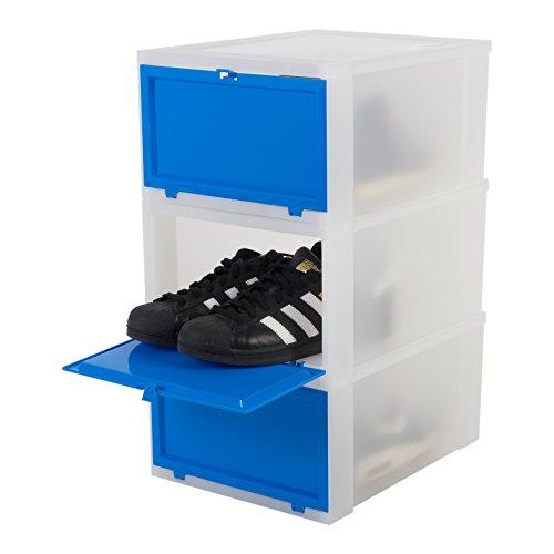 Iris Ohyama, set - 3 boîtes à chaussures / boîtes de rangement pour chaussures - Drop Front Box - EUDF-M, plastique, bleu marine, 14 L, 28 x 35,5 x 18 cm