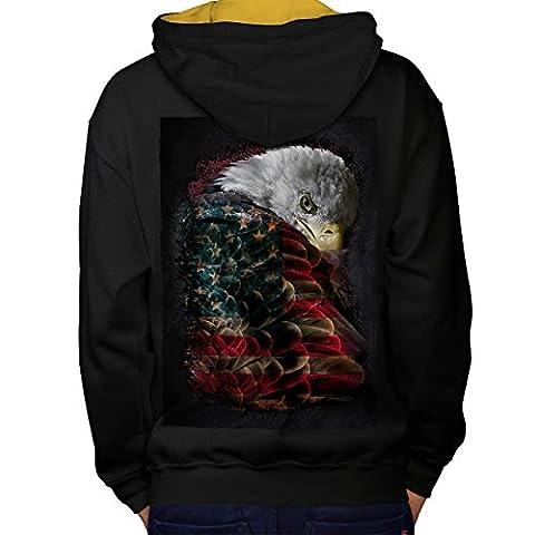 Adler Flagge Amerika USA Flügel Banner Men S Kontrast Kapuzenpullover Zurück | Wellcoda