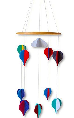 Baby Mobile - Neues Design - Für Jungen und Mädchen - Bunte Heißluft-Ballons aus Filz - Minimalistisch, Stilvoll - Tolle Dekoration für deine Zimmer