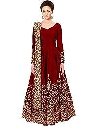 2a146f92b4 Attire Design Women s Embroidered Taffeta Silk Semi Stitched Anarkali Gown  With Dupatta (Maroon Semi Stitched Free Size