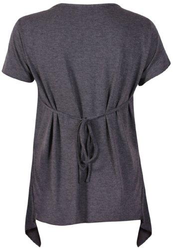 Damen T-Shirt Kurzarm Dehnbares Schnallen Brosche Hinten Gebundenes V-AAusschnitt Ungerade Taschentusch Süitzen Saum T-Shirt Top Plus Gößen Dunkelgrau