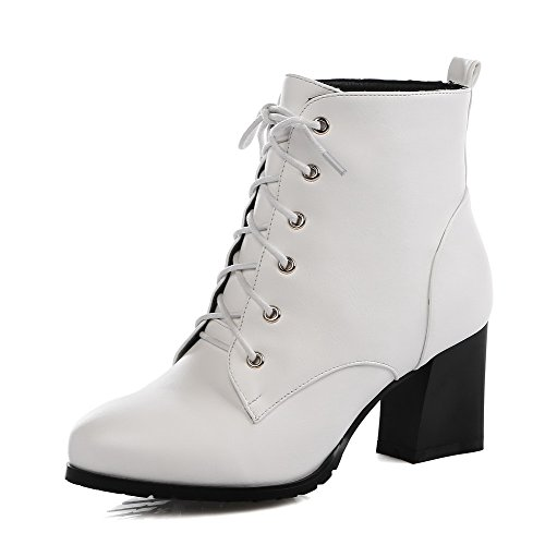 AalarDom Damen Mittler Absatz Weiches Material Niedrig-Spitze Rein Schnüren Stiefel Weiß