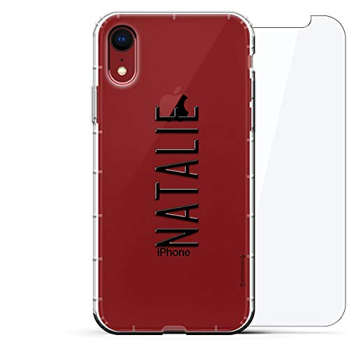 Luxendary Designer, 3D-Druck, Mode, Luftpolster-Kissen, 360 Glas-Schutz-Set für iPhone XR - Klare Albanian Flagge, Name: Natalie, Moderne Schrift, farblos