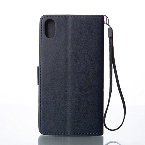iPhone 5S Hülle Case,iPhone SE Hülle Case,Gift_Source [Card Slot] [Kickstand Feature] Magnetic Closure PU Leder Blume Schmetterling Embossed Brieftasche Hülle Case Folio Flip Hülle Case mit Strap für  E01-06-Navy