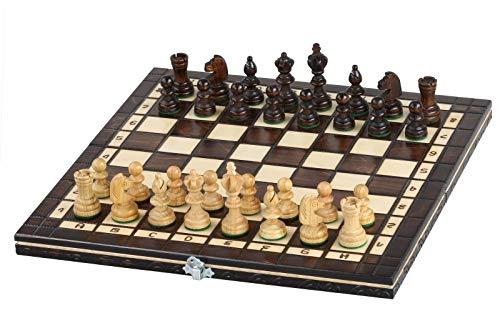 KADAX-Schachspiel-Dame-35-x-35-cm-hochwertiges-Schachbrett-aus-Holz-Schach-fr-Anfnger-Erwachsene-Kinder-tragbare-Schachkassette-mit-Figuren-2-in-1-Set-fr-Haus-Reise